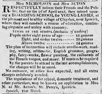 Eliza Acton - Advertisement placed by Acton in The Ipswich Journal for her boarding school