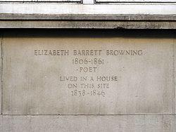 Photo of Elizabeth Barrett Browning stone plaque