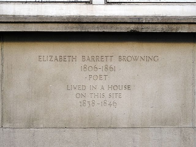 Elizabeth Barrett Browning stone plaque - Elizabeth Barrett Browning 1806-1861 poet lived in a house on this site 1838-1846