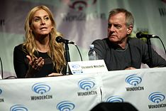 Mitchell at a Revolution panel, at WonderCon in 2014, with actor Stephen Collins