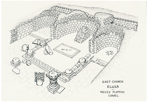 Haluza - Isometric view of Elusa Cathedral (East Church), 1980 Dig, Mississippi State University - Hebrew University of Jerusalem