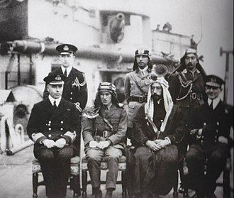King Faisal of Syria and T.E. Lawrence in Damascus during World War I, 1918. Emir Faisal; Lt. Colonel T.E. Lawrence - early 1918.jpg