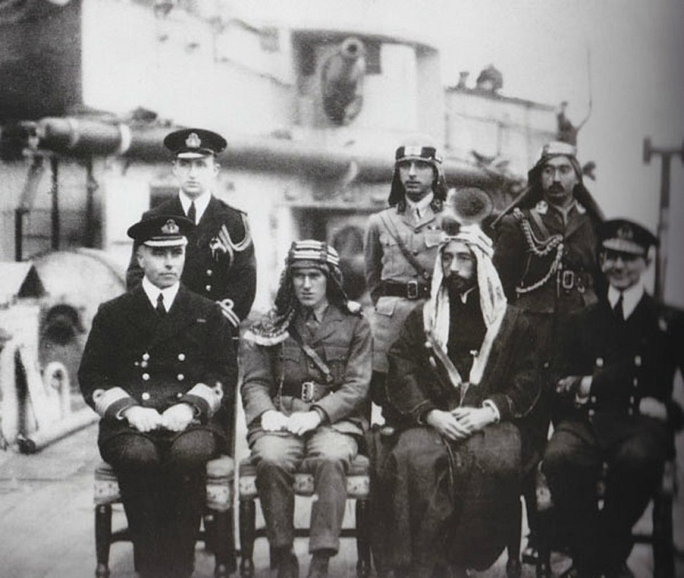Emir Faisal; Lt. Colonel T.E. Lawrence - early 1918
