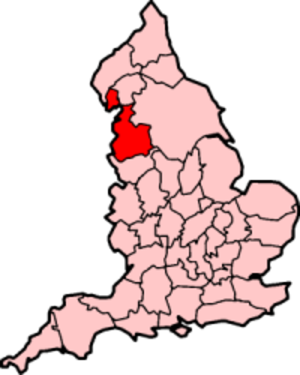 Lancashire dialect - Lancashire within England, showing ancient extent