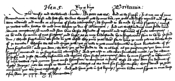 English Chancery Hand Facsimile Letter From Henry V Of England 1418