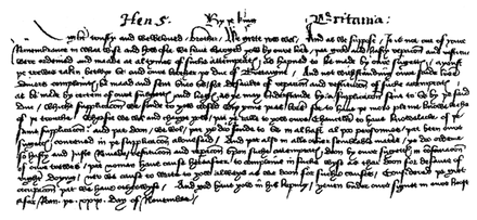 English chancery hand. Facsimile of letter from Henry, 1418 English chancery hand 1418.png