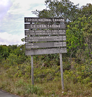 Gran Sabana - INPARQUES poster placed at the entrance to la Gran Sabana, after La Escalera