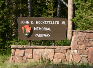John D. Rockefeller Jr. Memorial Parkway - Entrance sign
