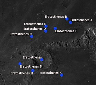 Eratosthenes (crater) - Eratosthenes and its satellite craters