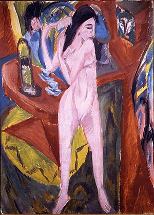 Brücke Museum - Ernst Ludwig Kirchner: Nude combing her hair (in German: Sich kämmender Akt, 1913)