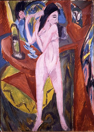 Brücke Museum - Ernst Ludwig Kirchner: Nude combing her hair (in German: Sich kämmender Akt, 1913)