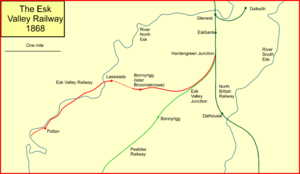 Esk Valley Railway (Scotland) - System map of the Esk Valley Railway