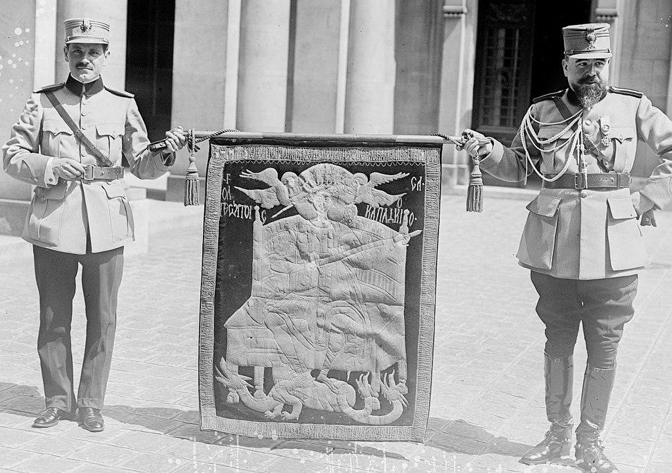 Etendard d'Etienne le Grand - 28 juillet 1917, à la Sorbonne (Agence Rol)