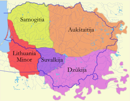 Map of Lithuanian regions showing Ausktaitija (orange). Etnoregionai.png