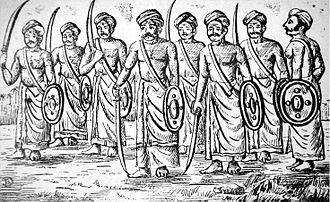 Illustration of Nair nobles in 18th century Kerala, India. The Nair caste was a martial nobility, similar to the Samurai of Japan. EttuveettilPillas.jpg