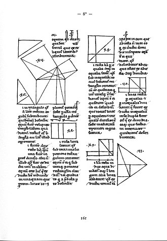 Mathematical diagram - Euclid's Elements, ms. from Lüneburg, A.D. 1200