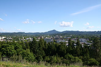 Skinner Butte - The view of downtown Eugene from the top of Skinner Butte