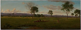 Bushy Park, Victoria - Eugene von Guerard View of the Gippsland Alps, from Bushy Park on the River Avon (1861)