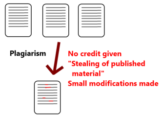 Plagiarism - One form of academic plagiarism involves appropriating a published article and modifying it slightly to avoid suspicion.