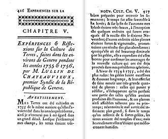 Michel Lullin de Chateauvieux - Advertisement for Expériences et réflexions sur la culture des terres, 1757