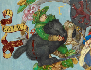 Favila of Asturias - A 1530s miniature, depicting Favila being mauled by a bear.