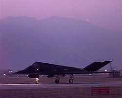 An U.S. F-117 Nighthawk taxis to the runway before taking off from Aviano Air Base, Italy, on March 24, 1999