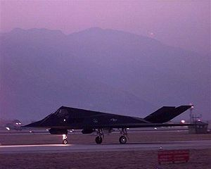 Italy–Serbia relations - A US F-117 Nighthawk before taking off from Aviano Air Base, Italy, in March 1999 as part of NATO operations against Yugoslavia