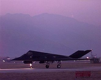 Kosovo War - A US F-117 Nighthawk taxis to the runway before taking off from Aviano Air Base, Italy, on March 24, 1999