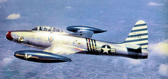 "Fürstenfeldbruck Air Base - Republic F-84E-10-RE Thunderjet Serial 49-2299 of the 23d Fighter-Bomber Squadron, 1951, flown by the Wing Commander Col. Robert L. Scott. Note the 23d Fighter Group emblem on the nose, as Col. Scott was a ""Flying Tiger"" in China during World War II"