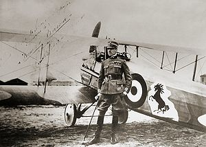 Corpo Aeronautico Militare - Francesco Baracca, Italy's top ace of WWI with 34 confirmed victories – posing in front of his SPAD S.XIII