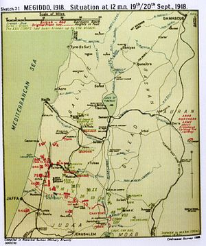 Capture of Jenin - Situation at 24:00 19/20 September 1918