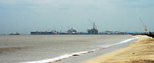 Far view of Kakinada port from Beach.jpg