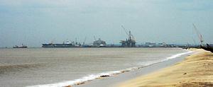 Kakinada Port - View of Kakinada port from the Beach