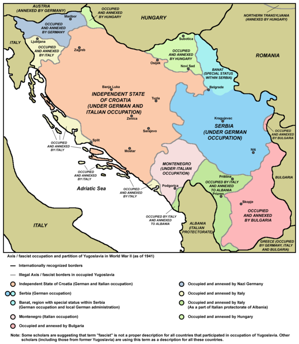 Serbia after Kingdom of Yugoslavia's occupation by the Axis and neighbouring puppet states during World War II Fascist occupation of yugoslavia.png