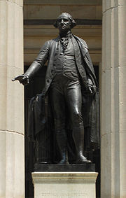J.Q.A. Ward's statue of George Washington in front of Federal Hall, on the site where Washington was inaugurated as the first U.S. President.