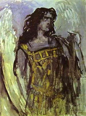 The Demon (opera) - Feodor Chaliapin as Demon in Rubinstein's opera. Painting by Konstantin Korovin (1903, Russian museum)