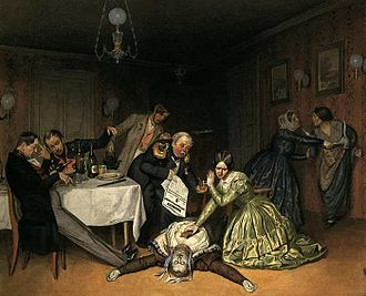 1852–60 cholera pandemic - Pavel Fedotov's painting shows a death from cholera sicca, 1848.