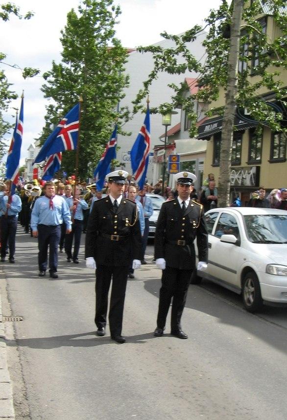 Festival procession in Reykjavik