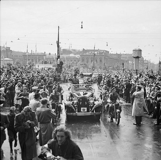 Thousands of Danes line the streets as Field Marshal Bernard Montgomery drives through Copenhagen, 1945 Field Marshal the Viscount Montgomery of Alamein Kg Gcb Dso 1887-1976 BU6034.jpg