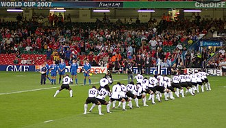 Culture of Fiji - Fijian rugby team performing a traditional war dance before their rugby encounter with Canada