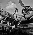 Fill er Up, Lubricating and servicing a new B-17F (Flying Fortress) bomber for flight tests at the airfield of Boeing's Seattle plant. 1942. - Flickr - polkbritton.jpg