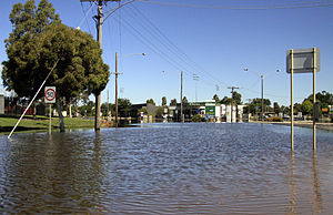 Early 2011 Victorian floods - Flooding at Firebrace Street in Horsham, 19 January