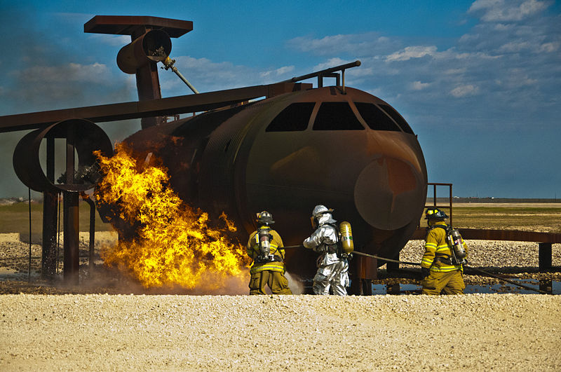 File:Firefighters from Laughlin Air Force Base and Del Rio Fire departments move in to extinguish a ground fire next to an aircraft mock up during a training exercise at Laughlin Air Force Base, Texas, on Feb 130212-F-AJ224-903.jpg