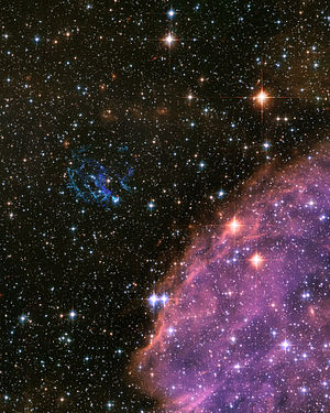 Galaxies in fiction - In the nearby galaxy, the Small Magellanic Cloud, a massive star has exploded as a supernova, and begun to dissipate its interior into a spectacular display of colorful filaments.