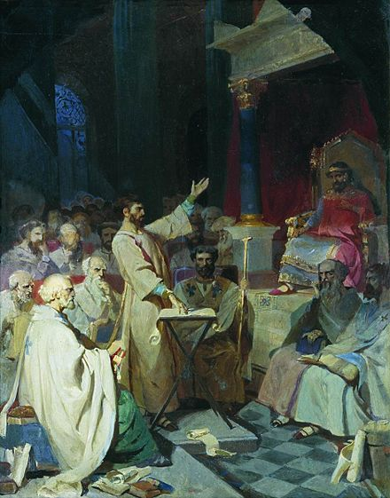 Athanasius of Alexandria, shown standing in this 1876 oil painting by Vasily Surikov, was deeply influenced by Origen's teachings. First Council of Nicea by V.Surikov (1876-7, GTG).jpg