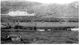 Gundadalur - Hoydalar, 18 July 1909: First known photo of a football match between two clubs of the Faroe Islands. HB Tórshavn (white arms) won 3-1 over TB Tvøroyri.