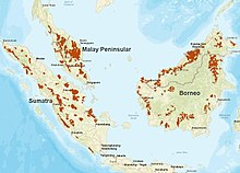 Map showing Peninsular Malaysia, Sumatra and Borneo