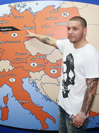 The German rapper Fler caused significant controversy with his music. Fler 2011 by NicoJenner.JPG