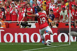 Santi Cazorla - Cazorla taking a corner for Arsenal.