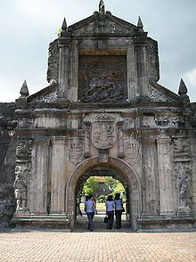 The front entrance of Fuerza de Santiago in Intramuros , towering 40